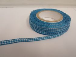 Dark Turquoise Blue 2 metres or full roll x 5mm Gingham Ribbon Double Sided check UK